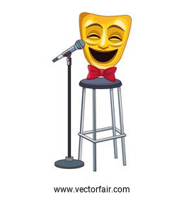 comedy theater mask on bar stool and stand microphone icon