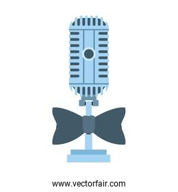 microphone with bow tie icon, flat design