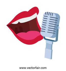 retro microphone and female mouth icon