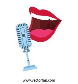 retro microphone and comedian mouth icon