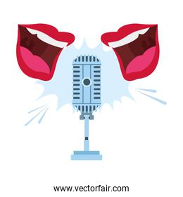 two mouths speaking to retro microphone icon