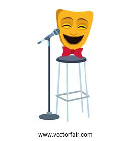 comedy theater mask on bar stool and stand microphone icon, colorful design