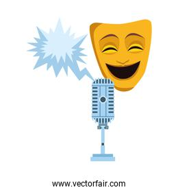 comedy theater mask with retro microphone icon