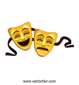 tragedy and comedy theater masks icon, colorful design