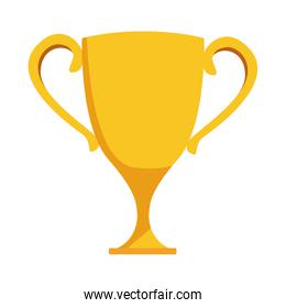 yellow trophy cup icon, flat design