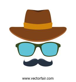 western hat with glasses and mustache icon