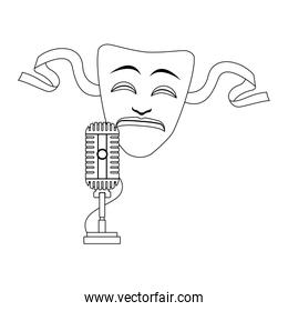 tragedy theater mask and microphone icon, flat design