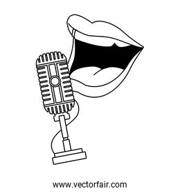 retro microphone and comedian mouth icon, flat design