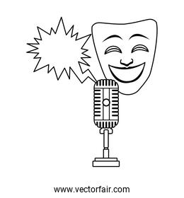 comedy theater mask with retro microphone icon, flat design