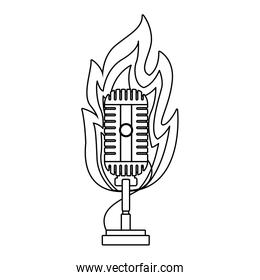 retro microphone in flames icon, flat design
