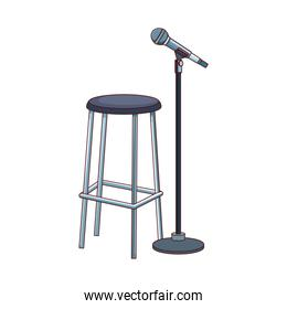 bar stool and microphone stand icon