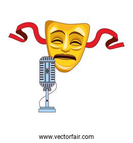 tragedy theater mask and microphone icon, colorful design