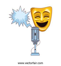 comedy theater mask with retro microphone icon, colorful design