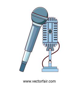 mike and retro microphone, flat design