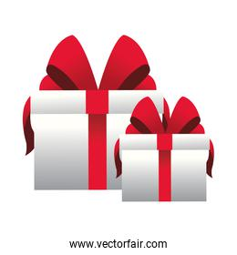 gift boxes with red bows icon, flat design