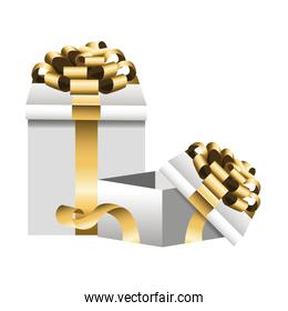 gift boxes with golden bows icon