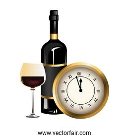 vintage clock with wine glass and bottle icon