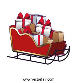 sled with gift boxes, flat design