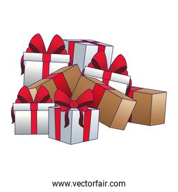 stack of gift boxes, colorful design