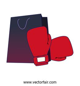 red boxing gloves with shopping bag