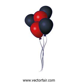red and black balloons icon, colorful design