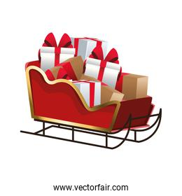 sled with gift boxes, colorful design