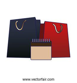 shopping bags and blank calendar icon