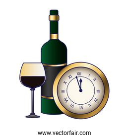 vintage clock with wine glass and bottle design