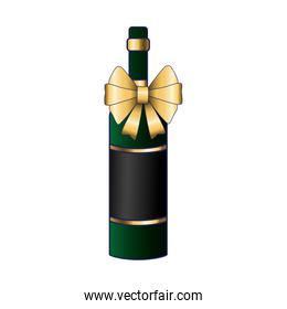 wine bottle with decorative bow icon, colorful design