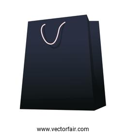 black shopping bag icon, flat design