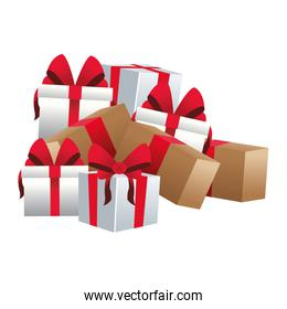 stack of gift boxes, flat design