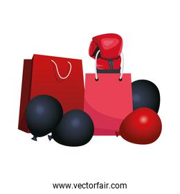 boxing glove with shopping bags and balloons, colorful design