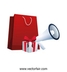 shopping bag with megaphone and gift box