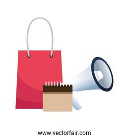 shopping bag with calendar and megaphone, colorful design