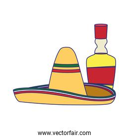 Isolated mexican hat and tequila vector design