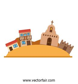 Isolated mexican downtown, vector design