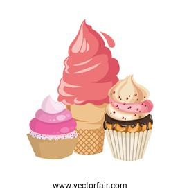 ice cream with cupcakes icon