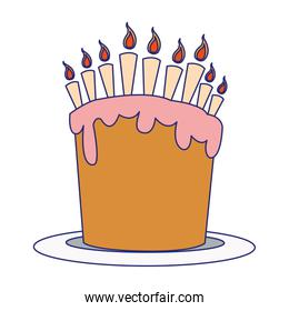 sweet birthday cake with candles icon, colorful flat design
