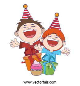 cartoon happy boys with birthday gifts boxes icon