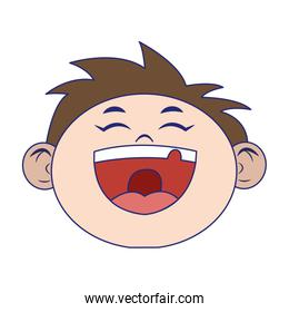 cartoon boy laughing isolated icon