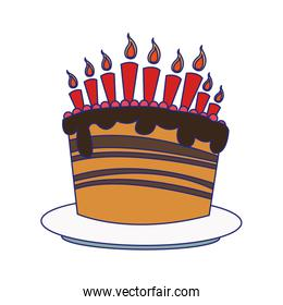 sweet birthday cake with candles icon
