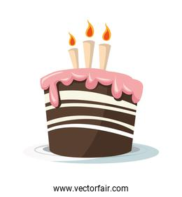 Birthday cake with three candles icon, colorful design