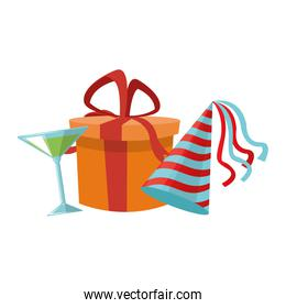 cocktail with gift box and party hat icon, colorful design