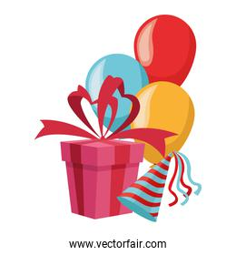 gift box with balloons and party hat, colorful design