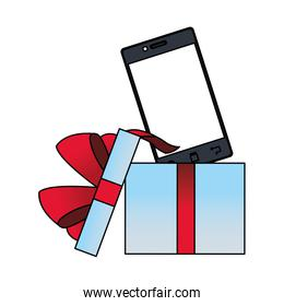 opened gift box with smartphone device, colorful design