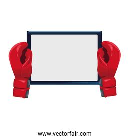 boxing gloves with tablet device, colorful design