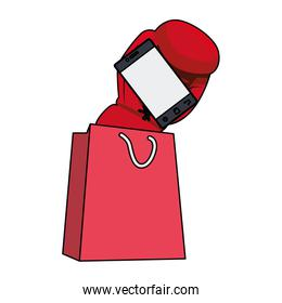 shopping bag and boxing glove with smartphone, colorful design