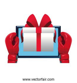 boxing gloves with tablet and gift box icon