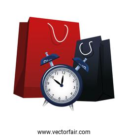 alarm clock and shopping bag, colorful design