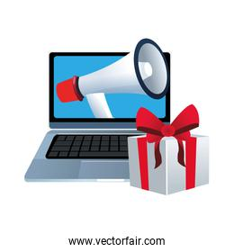 gift box and computer with megaphone on screen, colorful design